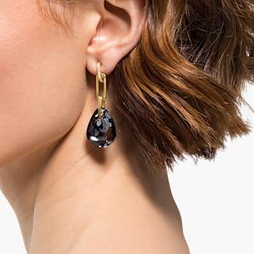 T Bar 穿孔耳環, 中碼, 灰色, 鍍金色色調 - Swarovski, 5566148