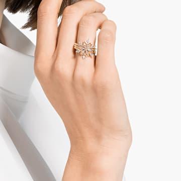 Σετ δαχτυλιδιών Magic, λευκό, επιχρυσωμένο με ροζ χρυσό - Swarovski, 5566676