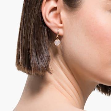 Ginger Mini 穿孔耳环, 白色, 镀玫瑰金色调 - Swarovski, 5567528