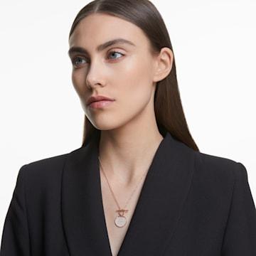 Ginger T Bar 項鏈, 白色, 鍍玫瑰金色調 - Swarovski, 5567529