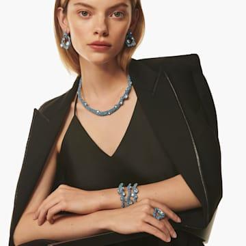 Tigris torque necklace, Water droplets, Blue, Palladium plated - Swarovski, 5568616