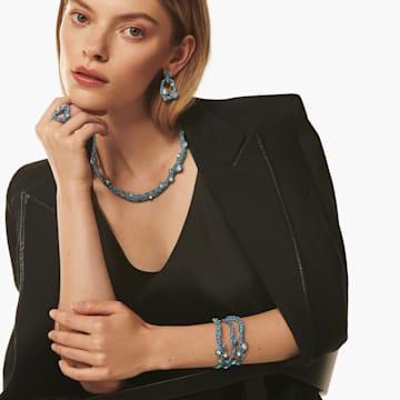 Manchette Tigris, aiguemarine turquoise, métal plaqué palladium - Swarovski, 5568629