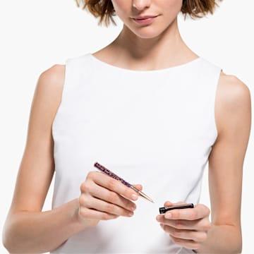 Kuličkové pero Crystalline Gloss, černé a fialové, pozlacené růžovým zlatem - Swarovski, 5568758
