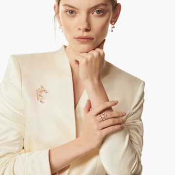 Theater 穿孔耳环, 白色, 镀玫瑰金色调 - Swarovski, 5569137