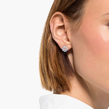 Attract Circle Stud Pierced Earrings, Rhodium plated - Swarovski, 5570943