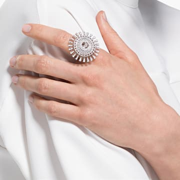 Anello Swarovski Sparkling Dance Dial Up, bianco, placcato rodio - Swarovski, 5572515