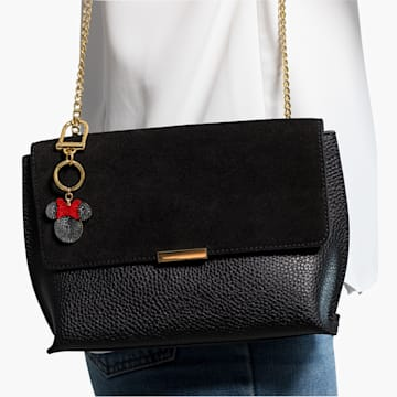 Minnie 手袋墜飾, 黑色, 鍍金色色調 - Swarovski, 5572567
