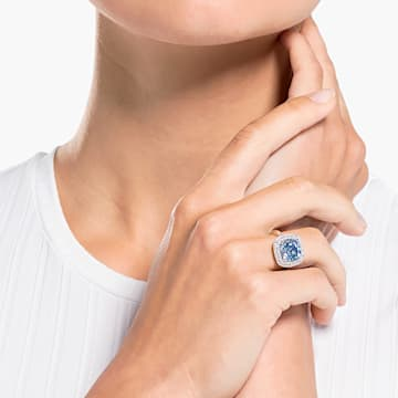Angelic 戒指, 藍色, 鍍白金色 - Swarovski, 5572637