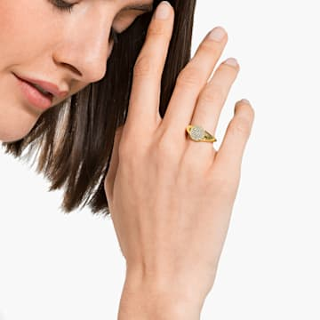 Anillo de sello Ginger, blanco, baño tono oro - Swarovski, 5572698