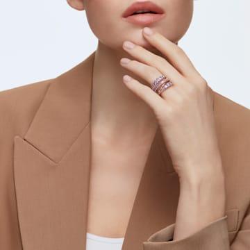 Spleciony pierścionek Twist, fioletowy, powłoka w odcieniu różowego złota - Swarovski, 5572712