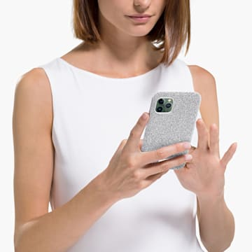 Custodia per smartphone High, iPhone® 12 mini, tono argentato - Swarovski, 5574042