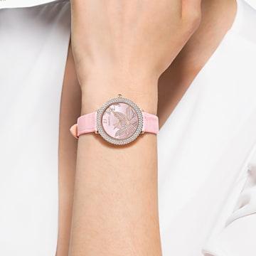 Crystal Frost 手錶, 真皮錶帶, 粉紅色, 玫瑰金色調PVD - Swarovski, 5575217