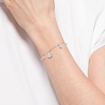 Magic bracelet, Snowflake, White, Rhodium plated - Swarovski, 5576695
