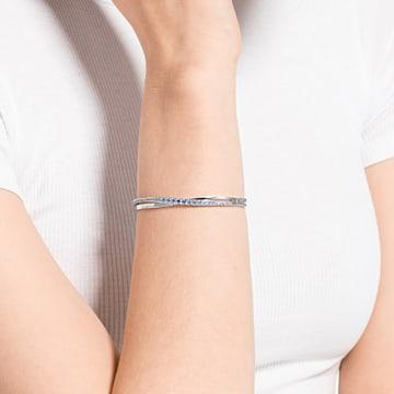Twist Rows 手鏈, 藍色, 鍍白金色 - Swarovski, 5582810