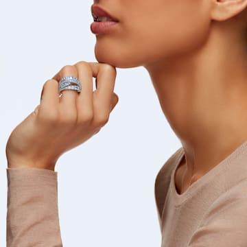 Inel împletit Twist Wrap, albastru, placat cu rodiu - Swarovski, 5584649