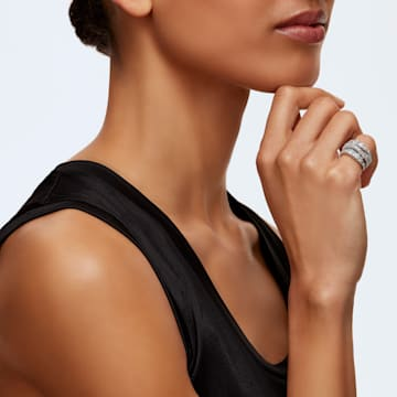 Prsten Twist Wrap, bílý, rhodiovaný - Swarovski, 5584650