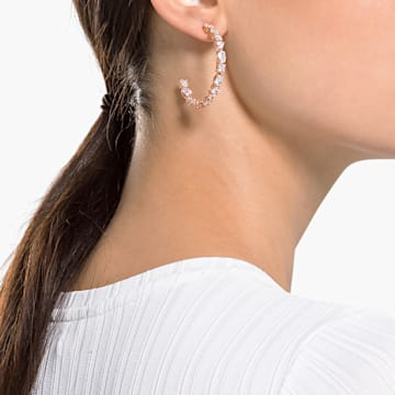 Tennis Deluxe hoop earrings, Precision cut crystals, White, Rose-gold tone plated - Swarovski, 5585438