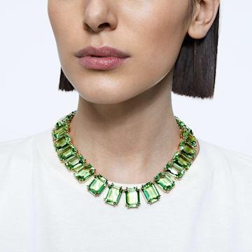 Náhrdelník Millenia, Křišťály s osmihranným výbrusem, Zelená, Pokoveno ve zlatém odstínu - Swarovski, 5598261