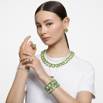 Millenia ketting, Achthoekig geslepen kristallen, Groen, Goudkleurige toplaag - Swarovski, 5598261
