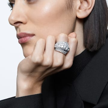 Hyperbola cocktail ring, Large, White, Rhodium plated - Swarovski, 5598341