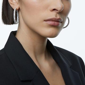Millenia 大圈耳环, 三角形切割Swarovski皓石, 流光溢彩, 镀铑 - Swarovski, 5598343
