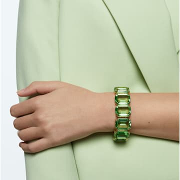 Pulsera Millenia, Cristales talla octagonal, Verde, Baño tono oro - Swarovski, 5598347