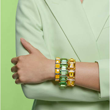 Pulseira Millenia, Cristais de corte octógono, Verde, Lacado a dourado - Swarovski, 5598347