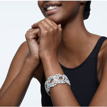 Bracelet Hyperbola, Blanc, Métal rhodié - Swarovski, 5598351