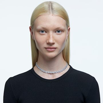 Millenia 项链, 梨形切割 Swarovski 皓石, 白色, 镀铑 - Swarovski, 5598362
