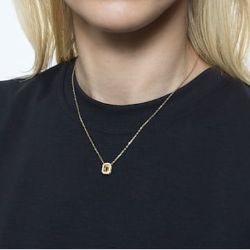 Millenia 项链, 正方形切割Swarovski皓石, 黄色, 镀金色调 - Swarovski, 5598421