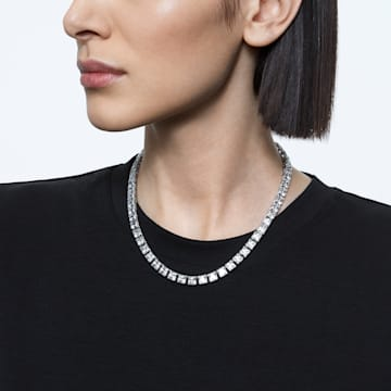 Millenia necklace, Square cut Swarovski Zirconia and crystal, White, Rhodium plated - Swarovski, 5599153