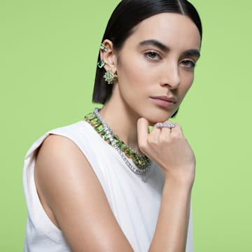 Millenia 项链, 正方形切割Swarovski皓石和仿水晶, 白色, 镀铑 - Swarovski, 5599153