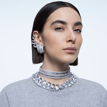 Millenia necklace, Triangle, White, Rhodium plated - Swarovski, 5599167
