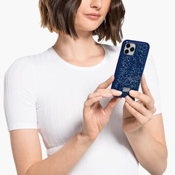 Coque rigide pour smartphone avec cadre amortisseur Glam Rock, iPhone® 12 Pro Max, bleu - Swarovski, 5599176