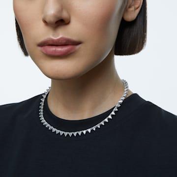 Collar Millenia, Triángulo, Blanco, Baño de rodio - Swarovski, 5599191