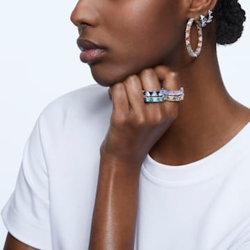 Millenia 大圈耳环, 三角形切割Swarovski皓石, 流光溢彩, 镀铑 - Swarovski, 5599199