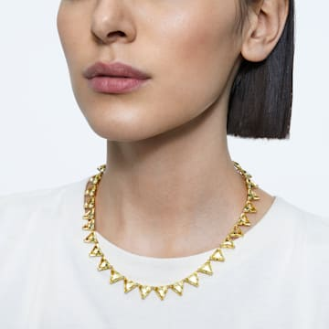 Millenia necklace, Triangle cut crystals, Yellow, Gold-tone plated - Swarovski, 5599487
