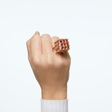 Curiosa cocktail ring, Square, Orange, Gold-tone plated - Swarovski, 5599807
