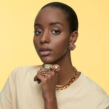 Curiosa 耳钉耳环, 单个, 正方形切割, 橙色, 镀金色调 - Swarovski, 5599826
