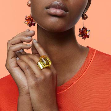 Pendientes de gota Curiosa, Cristales geométricos, Rosa, Baño tono oro rosa - Swarovski, 5599920