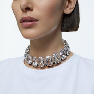 Harmonia choker, Oversized floating crystals, White, Mixed metal finish - Swarovski, 5600035