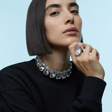 Harmonia choker, Oversized floating crystal, White, Mixed metal finish - Swarovski, 5600035
