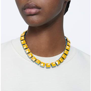 Orbita necklace, Square cut crystal, Multicolored, Gold-tone plated - Swarovski, 5600515