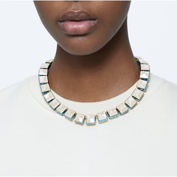Orbita necklace, Square cut crystals, Multicolored, Gold-tone plated - Swarovski, 5600515