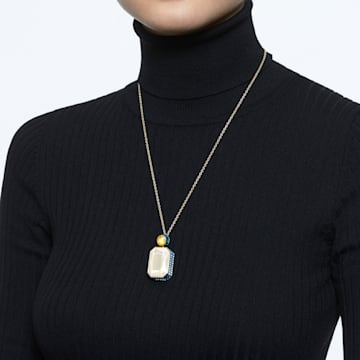Orbita necklace, Octagon cut crystal, Multicoloured, Gold-tone plated - Swarovski, 5600516