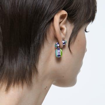 Boucles d'oreilles Orbita, Asymétrique, Cristal taille octogonale, Blanc, Métal doré - Swarovski, 5600519
