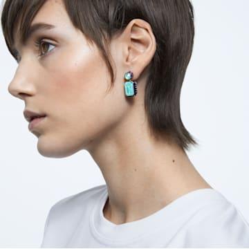 Orbita oorbellen , Asymmetrisch, Kristal met octagon-slijpvorm, Meerkleurig, Goudkleurige toplaag - Swarovski, 5600519