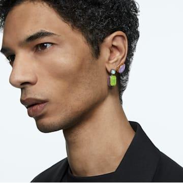Orbita 穿孔耳环, 不对称t, 八角形切割仿水晶, 流光溢彩, 镀金色调 - Swarovski, 5600519