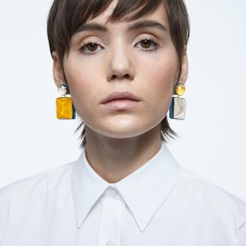 Orbita earrings, Asymmetrical, Square cut crystal, White, Gold-tone plated - Swarovski, 5600522