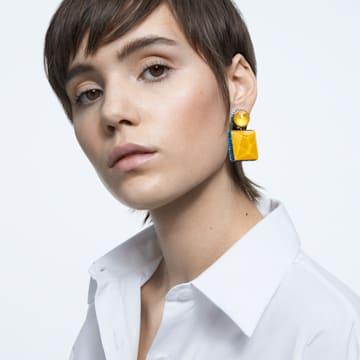 Orbita earrings, Asymmetrical, Square cut crystal, Multicolored, Gold-tone plated - Swarovski, 5600522